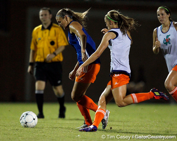 Florida senior forward/midfielder Lindsay Thompson runs with the ball during the Gators' Orange & Blue Scrimmage on Friday, August 12, 2011 at the UF Lacrosse/Soccer Facility in Gainesville, Fla. / Gator Country photo by Tim Casey