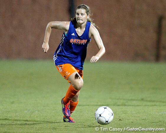 Florida freshman midfielder Jennifer Larrick looks to pass during the Gators' Orange & Blue Scrimmage on Friday, August 12, 2011 at the UF Lacrosse/Soccer Facility in Gainesville, Fla. / Gator Country photo by Tim Casey