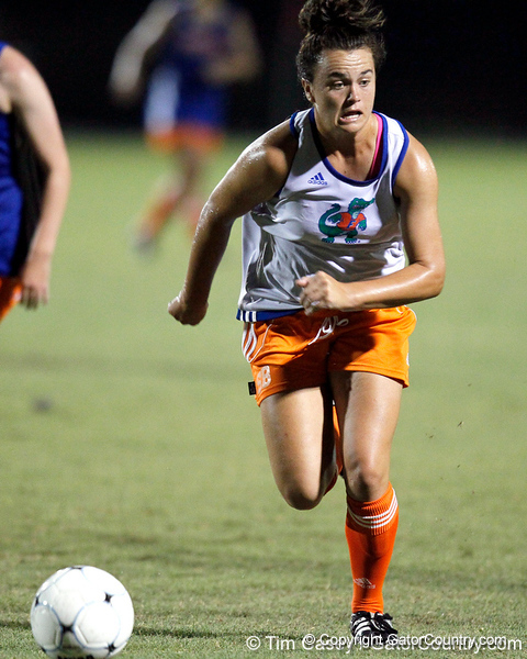 Florida freshman defender Savannah Berry runs with the ball during the Gators' Orange & Blue Scrimmage on Friday, August 12, 2011 at the UF Lacrosse/Soccer Facility in Gainesville, Fla. / Gator Country photo by Tim Casey