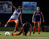 Florida senior midfielder/forward Tahnai Annis leads over freshman defender Kim Sapienza during the Gators' Orange & Blue Scrimmage on Friday, August 12, 2011 at the UF Lacrosse/Soccer Facility in Gainesville, Fla. / Gator Country photo by Tim Casey