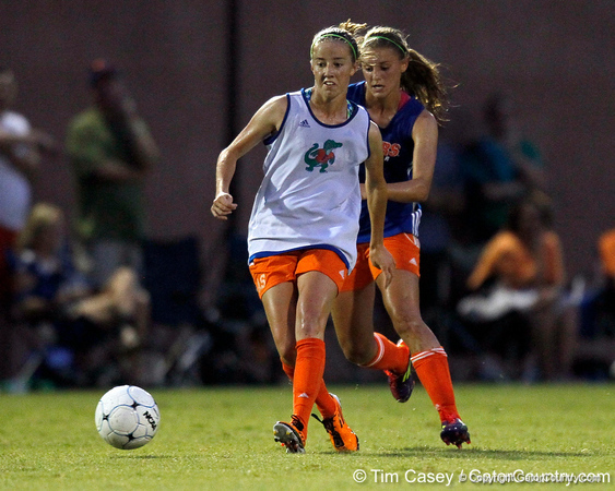 Florida freshman midfielder Annie Speese passes the ball during the Gators' Orange & Blue Scrimmage on Friday, August 12, 2011 at the UF Lacrosse/Soccer Facility in Gainesville, Fla. / Gator Country photo by Tim Casey