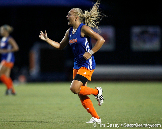 Florida redshirt-junior midfielder McKenzie Barney shouts to a teammate during the Gators' Orange & Blue Scrimmage on Friday, August 12, 2011 at the UF Lacrosse/Soccer Facility in Gainesville, Fla. / Gator Country photo by Tim Casey