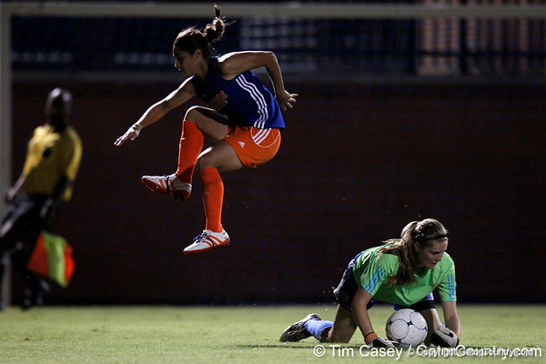 Florida freshman goalkeeper Taylor Burke dives on the ball during the Gators' Orange & Blue Scrimmage on Friday, August 12, 2011 at the UF Lacrosse/Soccer Facility in Gainesville, Fla. / Gator Country photo by Tim Casey