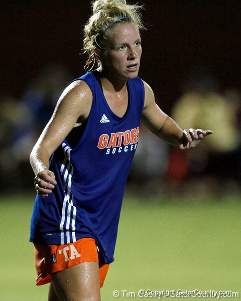 Florida freshman forward Tessa Andujar watches the ball during the Gators' Orange & Blue Scrimmage on Friday, August 12, 2011 at the UF Lacrosse/Soccer Facility in Gainesville, Fla. / Gator Country photo by Tim Casey