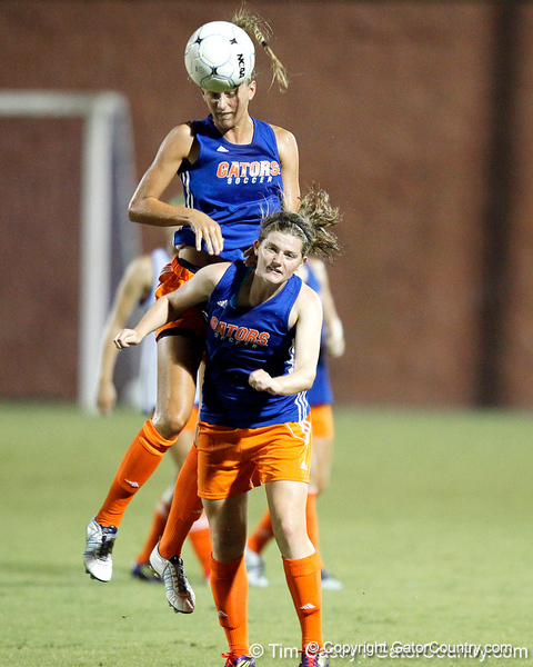 Florida freshman midfielder Jennifer Larrick heads the ball during the Gators' Orange & Blue Scrimmage on Friday, August 12, 2011 at the UF Lacrosse/Soccer Facility in Gainesville, Fla. / Gator Country photo by Tim Casey