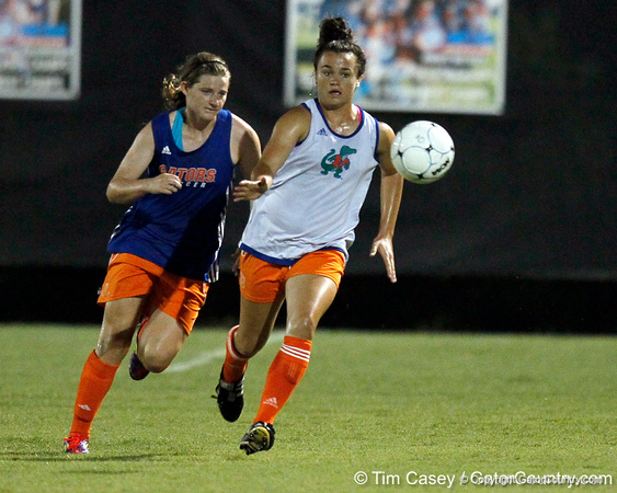 Florida freshman defender Savannah Berry chases the ball during the Gators' Orange & Blue Scrimmage on Friday, August 12, 2011 at the UF Lacrosse/Soccer Facility in Gainesville, Fla. / Gator Country photo by Tim Casey