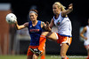 Florida sophomore forward Taylor Travis fights for the ball during the Gators' Orange & Blue Scrimmage on Friday, August 12, 2011 at the UF Lacrosse/Soccer Facility in Gainesville, Fla. / Gator Country photo by Tim Casey