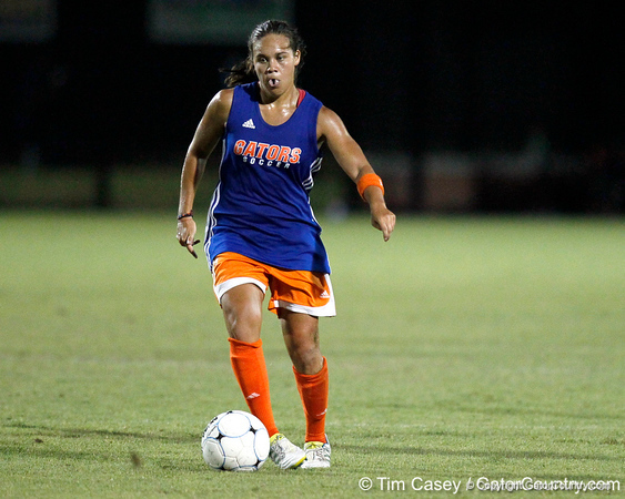 Florida senior midfielder/forward Tahnai Annis runs upfield during the Gators' Orange & Blue Scrimmage on Friday, August 12, 2011 at the UF Lacrosse/Soccer Facility in Gainesville, Fla. / Gator Country photo by Tim Casey