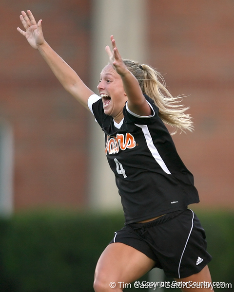 Florida freshman midfielder/defender McKenzie Barney celebrates after scoring the first of her two goals during the Gators' 3-0 win against South Carolina on Friday, October 30, 2009 at James G. Pressly Stadium in Gainesville, Fla. UF clinched the SEC championship with the victory. / Gator Country photo by Tim Casey