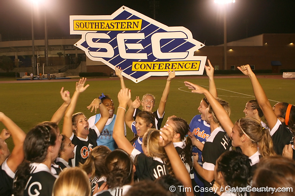 Florida senior midfielder Jessica Eicken celebrates with teammates after the Gators' 3-0 win against South Carolina on Friday, October 30, 2009 at James G. Pressly Stadium in Gainesville, Fla. UF clinched the SEC championship with the victory. / Gator Country photo by Tim Casey