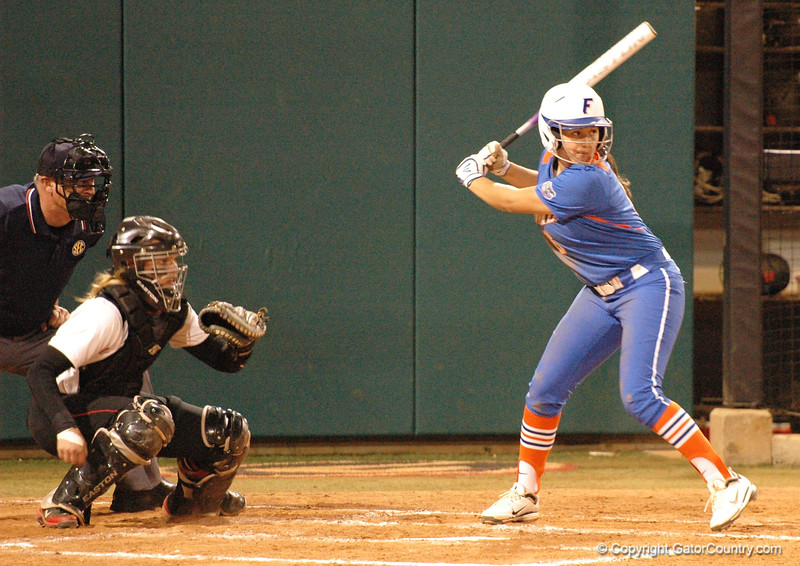 Katie Medina in her first plate appearance