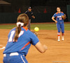 Shortstop Cheyenne Coyle records an out at First Base