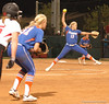 Gator Defense readies for the next pitch while holding an UGA runner at Third Base.