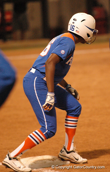 Michelle Moultrie gets ready to head for 2nd Base