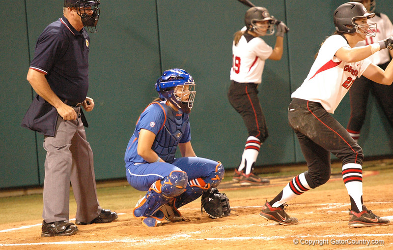 Kelsey Horton signals for the next pitch