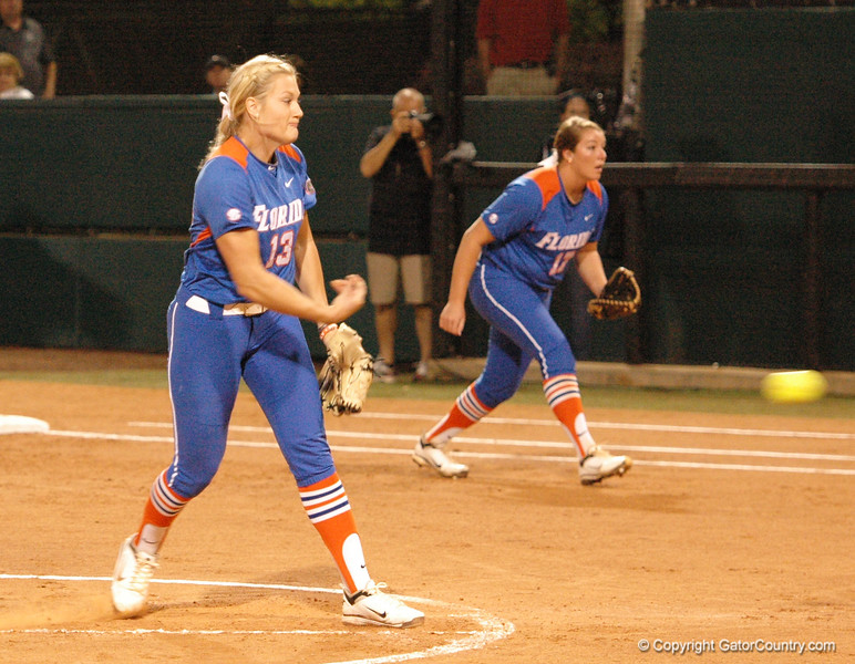 Hannah Rogers fires the ball to the plate