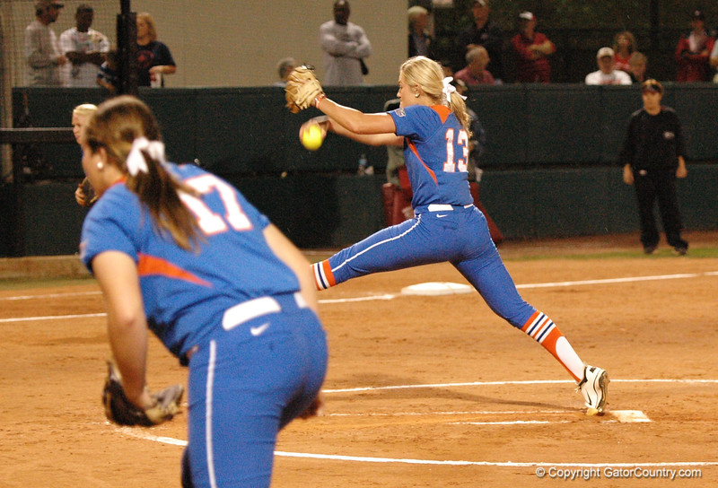 Hannah Rogers challenges another UGA batter