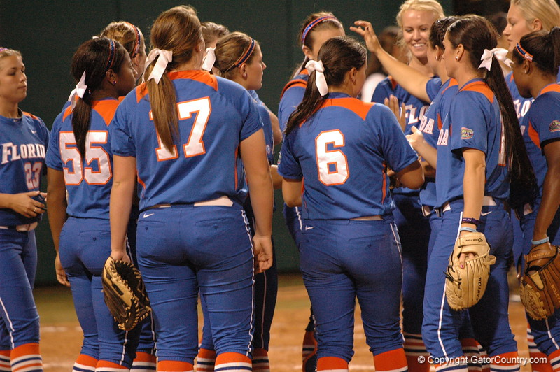 Team celebrates the final out of the inning