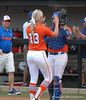 After recording the final out Hannah Rogers and Kelsey Horton celebrate victory