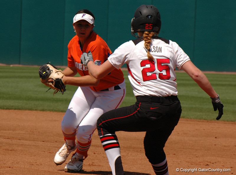 Katie Medina records the first out of a 1st Inning double play