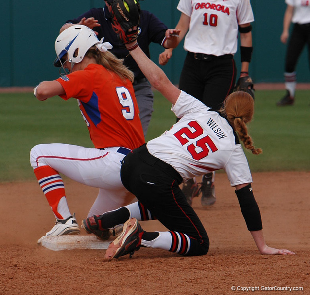 Kasey Fagan slides safely into 2nd Base with a 6th Inning double