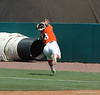 Katie Medina chases a foul ball