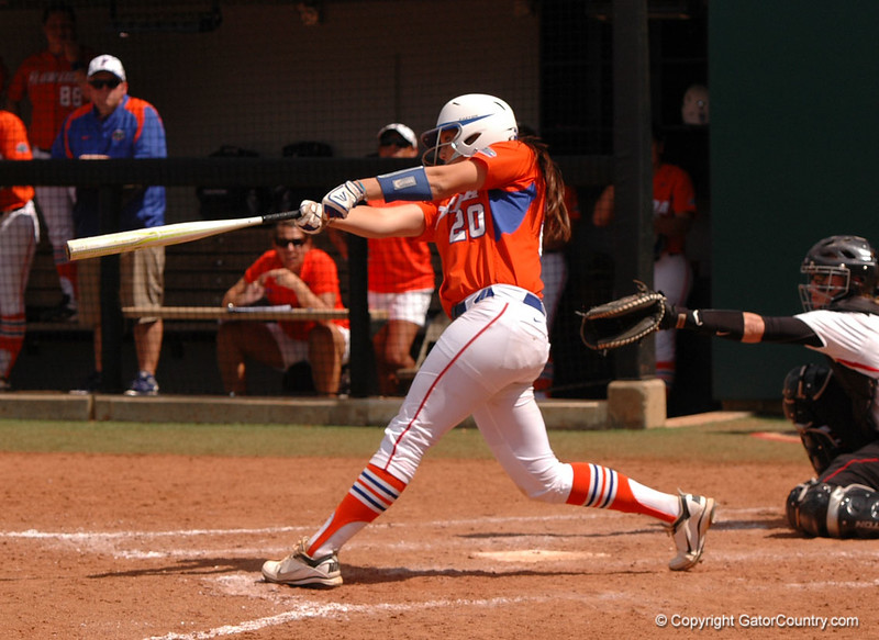 Kelsey Horton delivers with a long base hit