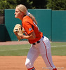 Hannah Rogers shows her determination as she takes down the UGA hitters