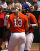 Hannah Rogers talks with Catcher Kelsey Horton about the UGA runner at First Base
