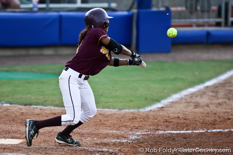 A Bethune-Cookman player connects with the ball during the Florida Gators' 8-0 win against the Wildcats on Friday, May 20, 2011 at Katie Seashole Pressly Stadium in Gainesville, Fla. / photo by Rob Foldy