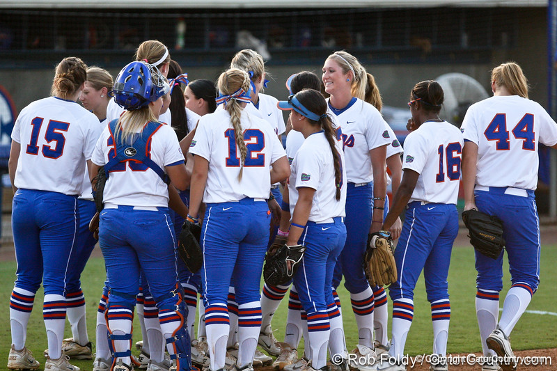 Florida players huddle after an inning during the Gators' 8-0 win against the Bethune-Cookman Wildcats on Friday, May 20, 2011 at Katie Seashole Pressly Stadium in Gainesville, Fla. / photo by Rob Foldy