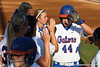 Florida sophomore Brittany Schutte gets high-fives from her teammates during the Gators' 8-0 win against the Bethune-Cookman Wildcats on Friday, May 20, 2011 at Katie Seashole Pressly Stadium in Gainesville, Fla. / photo by Rob Foldy