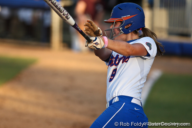 Florida freshman Kasey Fagan watches the ball during the Gators' 8-0 win against the Bethune-Cookman Wildcats on Friday, May 20, 2011 at Katie Seashole Pressly Stadium in Gainesville, Fla. / photo by Rob Foldy