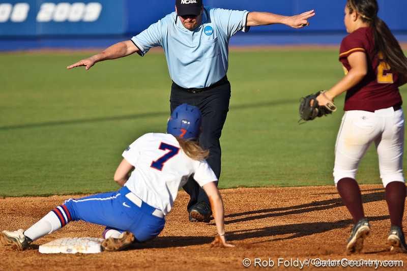 Florida junior Lauren Heil steals second base during the Gators' 8-0 win against the Bethune-Cookman Wildcats on Friday, May 20, 2011 at Katie Seashole Pressly Stadium in Gainesville, Fla. / photo by Rob Foldy