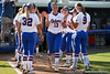 Florida freshman pitcher Hannah Rogers runs onto the field during introductions before the Gators' 8-0 win against the Bethune-Cookman Wildcats on Friday, May 20, 2011 at Katie Seashole Pressly Stadium in Gainesville, Fla. / photo by Rob Foldy