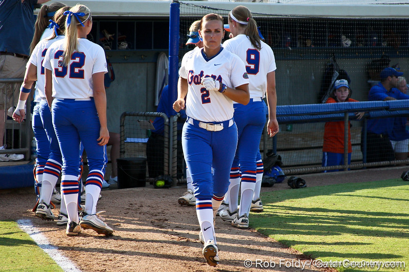 Florida senior Kelsey Bruder runs onto the field during introductions before the Gators' 8-0 win against the Bethune-Cookman Wildcats on Friday, May 20, 2011 at Katie Seashole Pressly Stadium in Gainesville, Fla. / photo by Rob Foldy
