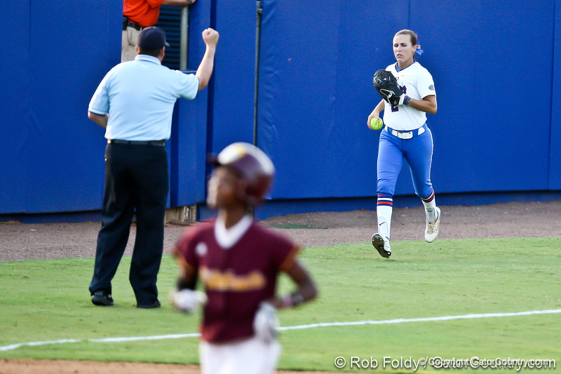 Florida senior Kelsey Bruder runs back to the dugout after recording an inning-ending out during the Gators' 8-0 win against the Bethune-Cookman Wildcats on Friday, May 20, 2011 at Katie Seashole Pressly Stadium in Gainesville, Fla. / photo by Rob Foldy
