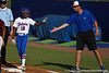 Florida junior center fielder Michelle Moultrie slaps hands with volunteer coach Coy Adkins during the Gators' 8-0 win against the Bethune-Cookman Wildcats on Friday, May 20, 2011 at Katie Seashole Pressly Stadium in Gainesville, Fla. / photo by Rob Foldy