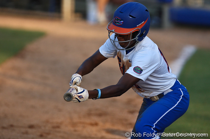 Florida junior center fielder Michelle Moultrie lays down a bunt during the Gators' 8-0 win against the Bethune-Cookman Wildcats on Friday, May 20, 2011 at Katie Seashole Pressly Stadium in Gainesville, Fla. / photo by Rob Foldy