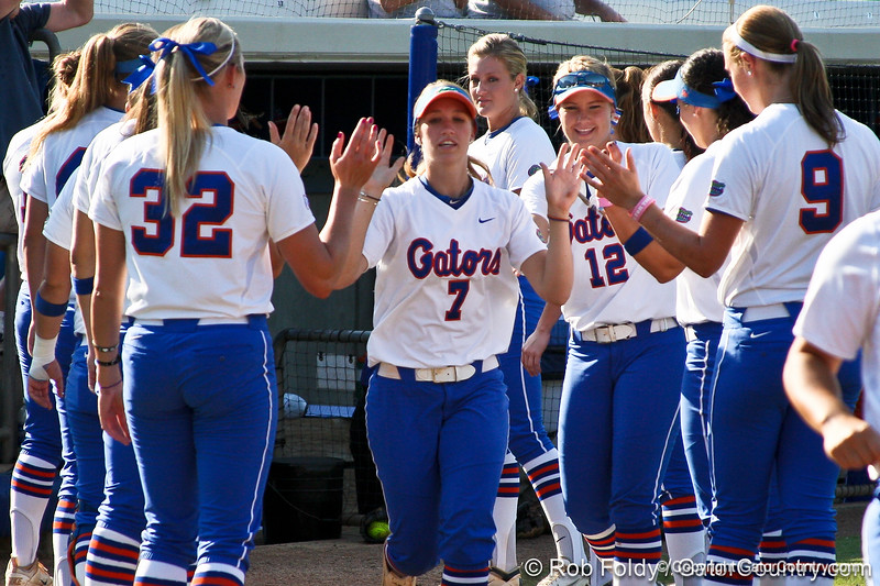 Florida junior Lauren Heil runs onto the field during introductions before the Gators' 8-0 win against the Bethune-Cookman Wildcats on Friday, May 20, 2011 at Katie Seashole Pressly Stadium in Gainesville, Fla. / photo by Rob Foldy