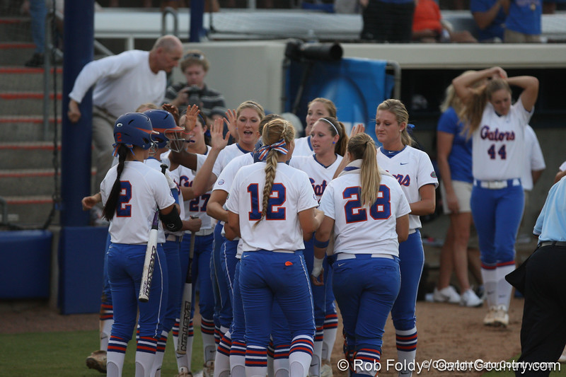 Florida players celebrate after the Gators' 8-0 win against the Bethune-Cookman Wildcats on Friday, May 20, 2011 at Katie Seashole Pressly Stadium in Gainesville, Fla. / photo by Rob Foldy