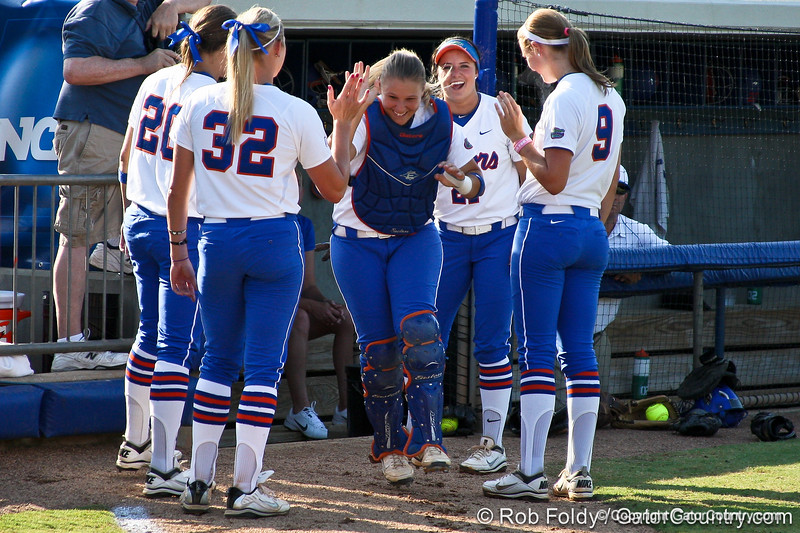 Florida senior catcher Tiffany DeFelice runs onto the field during introductions before the Gators' 8-0 win against the Bethune-Cookman Wildcats on Friday, May 20, 2011 at Katie Seashole Pressly Stadium in Gainesville, Fla. / photo by Rob Foldy
