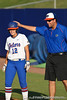 Florida volunteer coach Coy Adkins congratulates senior first baseman Megan Bush during the Gators' 8-0 win against the Bethune-Cookman Wildcats on Friday, May 20, 2011 at Katie Seashole Pressly Stadium in Gainesville, Fla. / photo by Rob Foldy