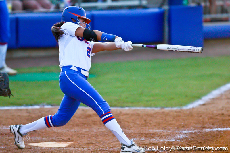 Florida senior Kelsey Bruder watches the ball during the Gators' 8-0 win against the Bethune-Cookman Wildcats on Friday, May 20, 2011 at Katie Seashole Pressly Stadium in Gainesville, Fla. / photo by Rob Foldy