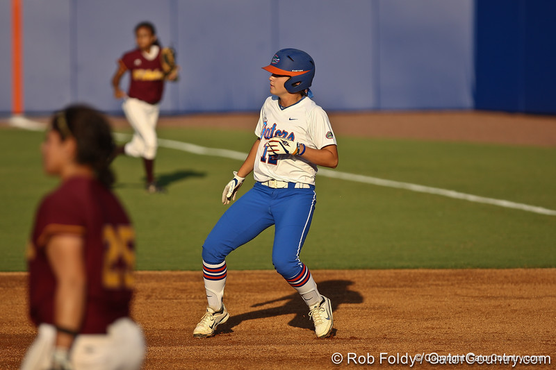 Florida senior first baseman Megan Bush rounds first base during the Gators' 8-0 win against the Bethune-Cookman Wildcats on Friday, May 20, 2011 at Katie Seashole Pressly Stadium in Gainesville, Fla. / photo by Rob Foldy