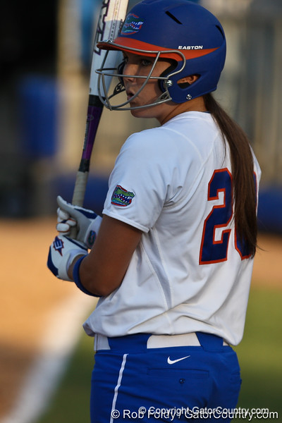 Florida sophomore Kelsey Horton looks to the dugout for a sign during the Gators' 8-0 win against the Bethune-Cookman Wildcats on Friday, May 20, 2011 at Katie Seashole Pressly Stadium in Gainesville, Fla. / photo by Rob Foldy