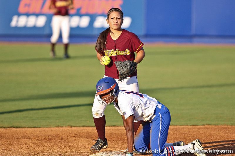 Florida junior center fielder Michelle Moultrie slides into second base during the Gators' 8-0 win against the Bethune-Cookman Wildcats on Friday, May 20, 2011 at Katie Seashole Pressly Stadium in Gainesville, Fla. / photo by Rob Foldy