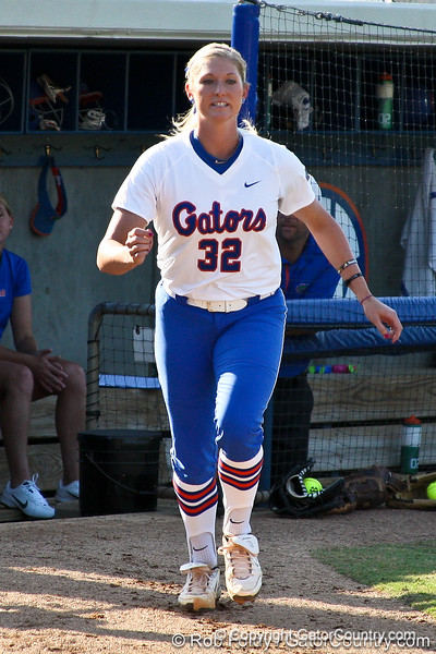 Florida senior pitcher Stephanie Brombacher runs onto the field during introductions before the Gators' 8-0 win against the Bethune-Cookman Wildcats on Friday, May 20, 2011 at Katie Seashole Pressly Stadium in Gainesville, Fla. / photo by Rob Foldy[
