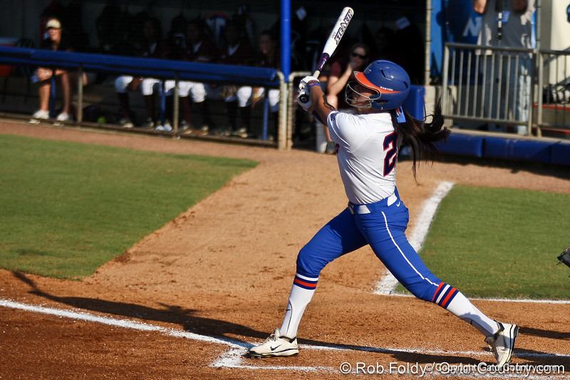 Kelsey Bruder watches the ball during the Gators' 8-0 win against the Bethune-Cookman Wildcats on Friday, May 20, 2011 at Katie Seashole Pressly Stadium in Gainesville, Fla. / photo by Rob Foldy