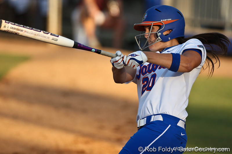 Florida sophomore Kelsey Horton follows through with her swing during the Gators' 8-0 win against the Bethune-Cookman Wildcats on Friday, May 20, 2011 at Katie Seashole Pressly Stadium in Gainesville, Fla. / photo by Rob Foldy